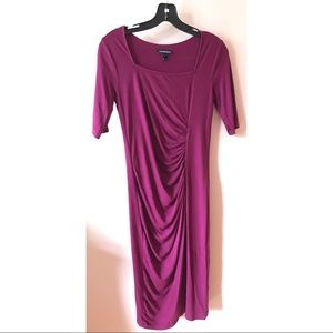 Raspberry Square Neck Ruched Maternity Dress